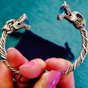 Bali Couture Jewelry - Bali Couture 18K Gold .925 Blue Topaz Dragon Cuff